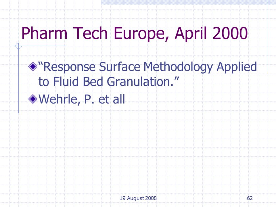 19 August 200862 Pharm Tech Europe, April 2000 Response Surface Methodology Applied to Fluid Bed Granulation. Wehrle, P.