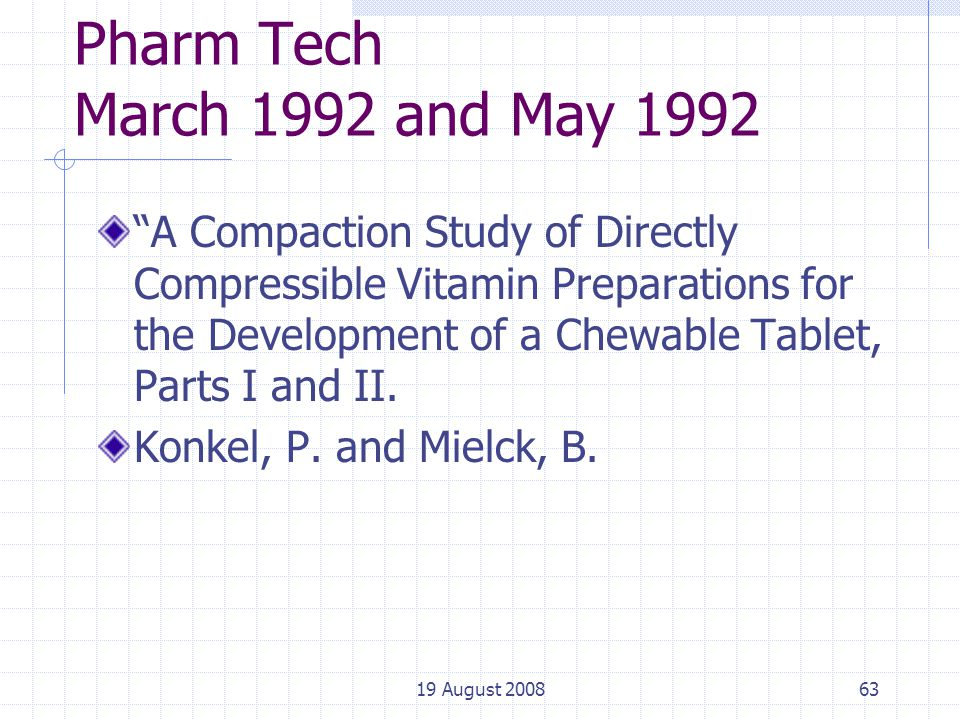 19 August 200863 Pharm Tech March 1992 and May 1992 A Compaction Study of Directly Compressible Vitamin Preparations for the Development of a Chewable Tablet, Parts I and II.