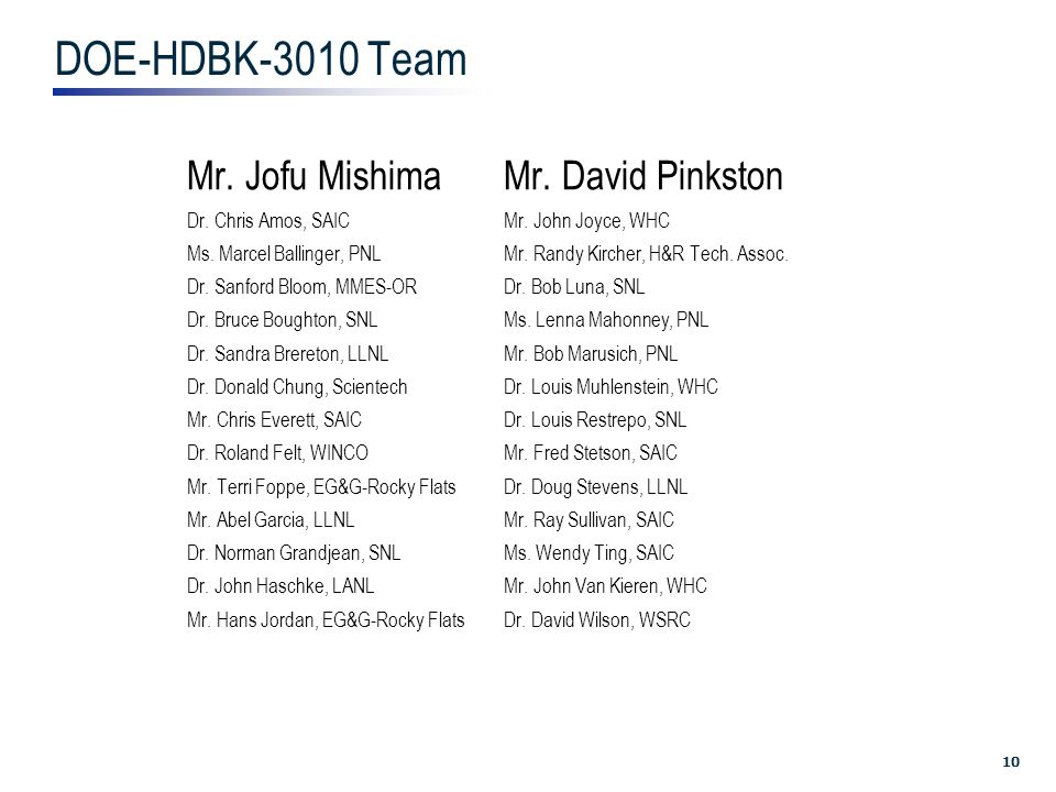 10 DOE-HDBK-3010 Team Mr. Jofu MishimaMr. David Pinkston Dr.