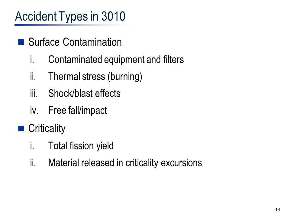 14 Accident Types in 3010 Surface Contamination i.Contaminated equipment and filters ii.Thermal stress (burning) iii.Shock/blast effects iv.Free fall/impact Criticality i.Total fission yield ii.Material released in criticality excursions