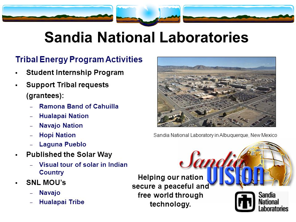 Sandia National Laboratory in Albuquerque, New Mexico Sandia National Laboratories Tribal Energy Program Activities  Student Internship Program  Support Tribal requests (grantees): – Ramona Band of Cahuilla – Hualapai Nation – Navajo Nation – Hopi Nation – Laguna Pueblo  Published the Solar Way – Visual tour of solar in Indian Country  SNL MOU's – Navajo – Hualapai Tribe Helping our nation secure a peaceful and free world through technology.
