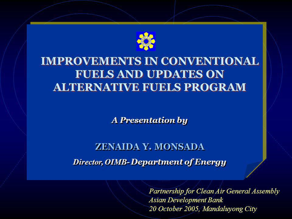 IMPROVEMENTS IN CONVENTIONAL FUELS AND UPDATES ON ALTERNATIVE FUELS PROGRAM A Presentation by ZENAIDA Y.