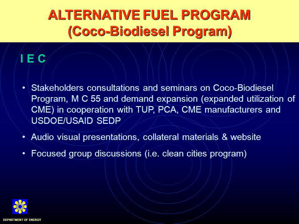 ALTERNATIVE FUEL PROGRAM (Coco-Biodiesel Program) DEPARTMENT OF ENERGY I E C Stakeholders consultations and seminars on Coco-Biodiesel Program, M C 55 and demand expansion (expanded utilization of CME) in cooperation with TUP, PCA, CME manufacturers and USDOE/USAID SEDP Audio visual presentations, collateral materials & website Focused group discussions (i.e.