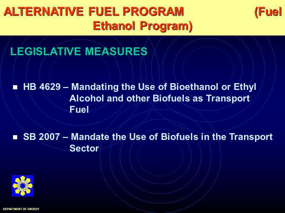 HB 4629 – Mandating the Use of Bioethanol or Ethyl Alcohol and other Biofuels as Transport Fuel SB 2007 – Mandate the Use of Biofuels in the Transport Sector ALTERNATIVE FUEL PROGRAM (Fuel Ethanol Program) DEPARTMENT OF ENERGY LEGISLATIVE MEASURES