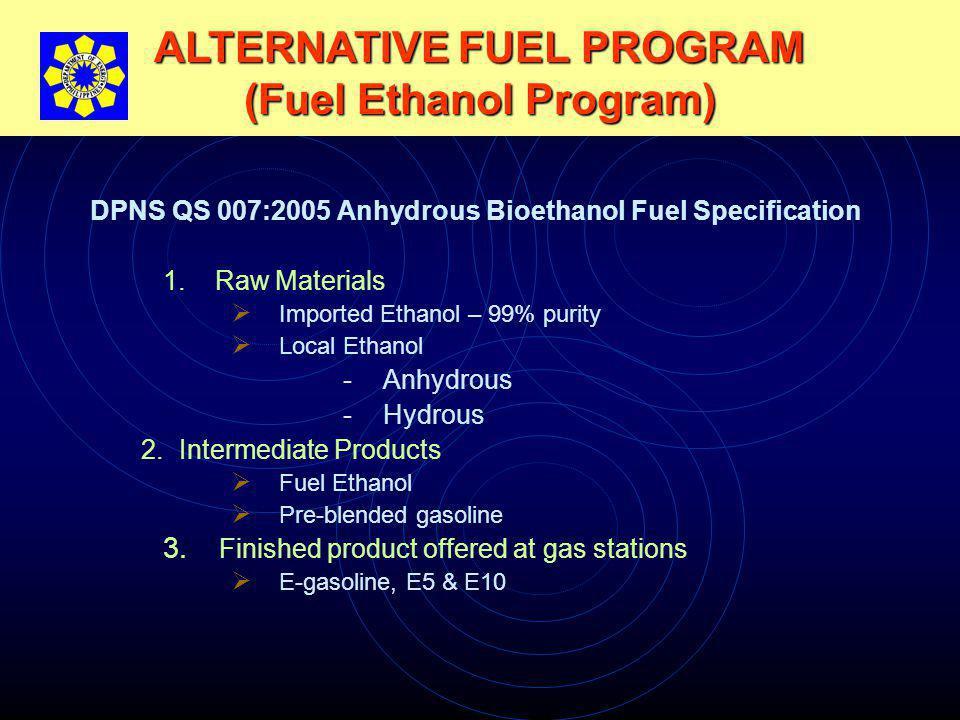 ALTERNATIVE FUEL PROGRAM (Fuel Ethanol Program) DPNS QS 007:2005 Anhydrous Bioethanol Fuel Specification 1.