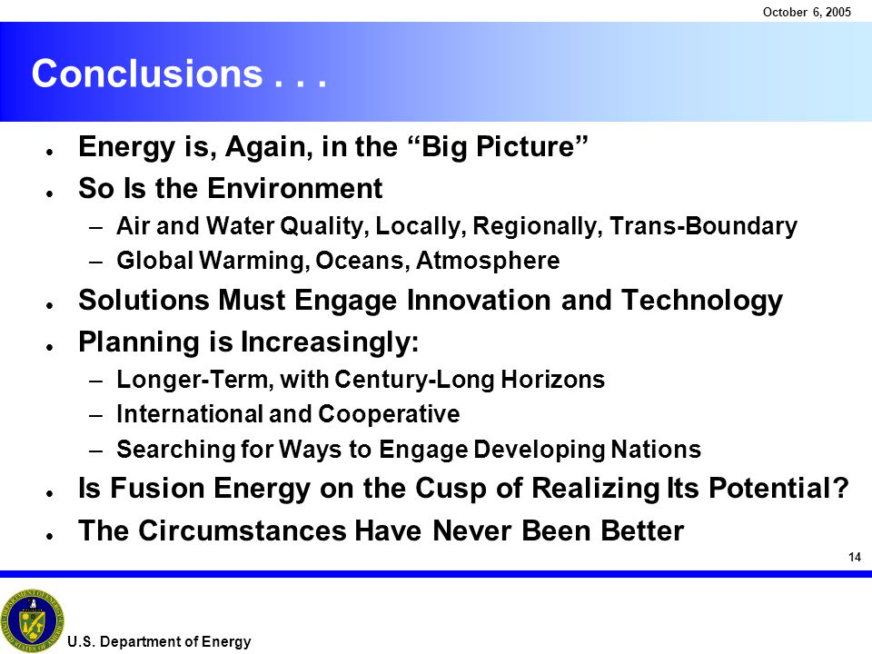14 October 6, 2005 U.S. Department of Energy Conclusions...