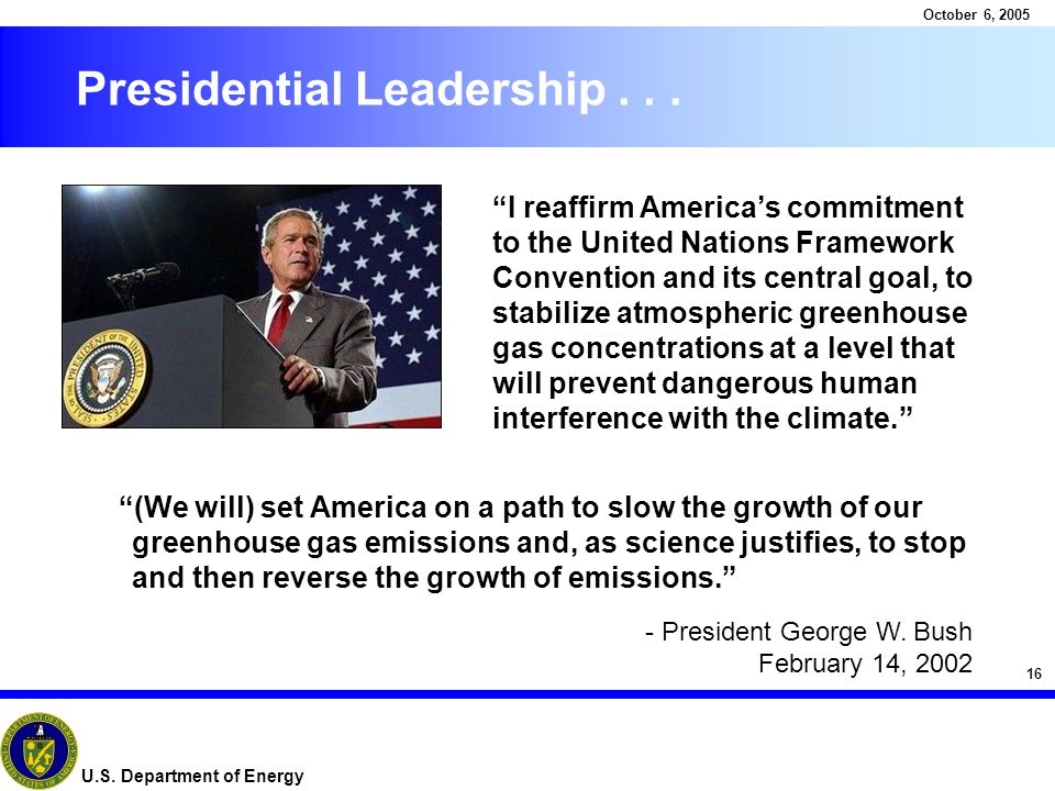 16 October 6, 2005 U.S. Department of Energy Presidential Leadership...