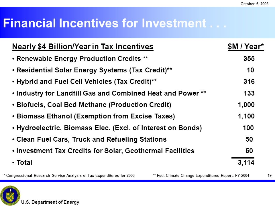 19 October 6, 2005 U.S. Department of Energy Financial Incentives for Investment...