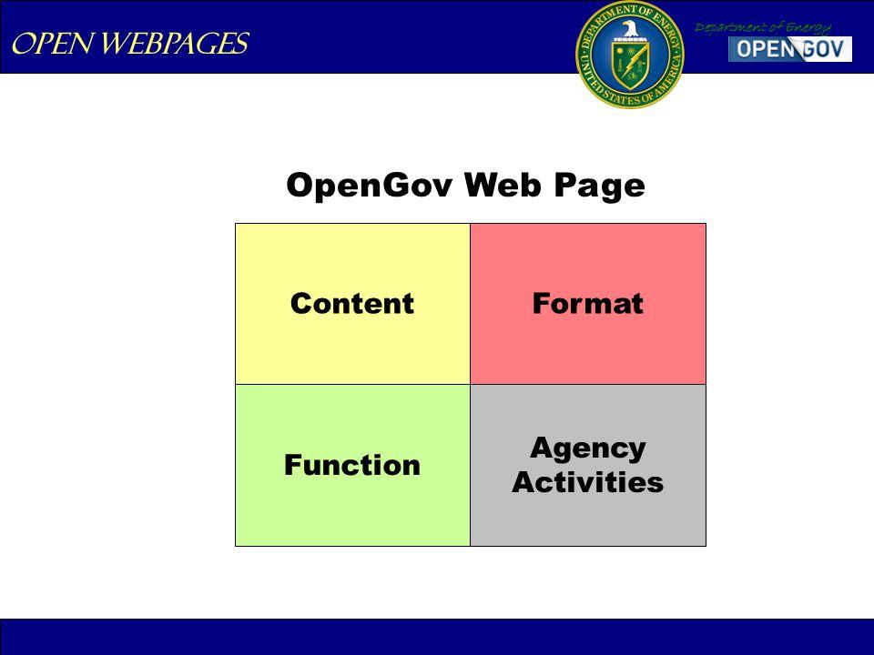 Department of Energy Open webpages OpenGov Web Page ContentFormat Function Agency Activities