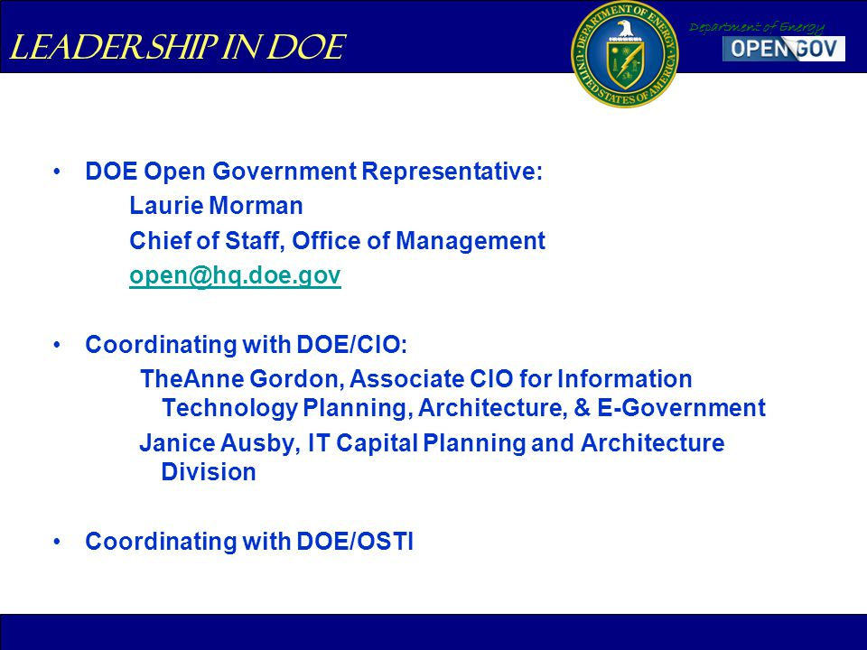 Department of Energy DOE Open Government Representative: Laurie Morman Chief of Staff, Office of Management open@hq.doe.gov Coordinating with DOE/CIO: TheAnne Gordon, Associate CIO for Information Technology Planning, Architecture, & E-Government Janice Ausby, IT Capital Planning and Architecture Division Coordinating with DOE/OSTI Leadership in DOE