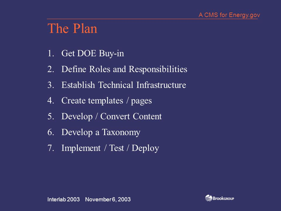 Interlab 2003 November 6, 2003 A CMS for Energy.gov The Plan 1.Get DOE Buy-in 2.Define Roles and Responsibilities 3.Establish Technical Infrastructure 4.Create templates / pages 5.Develop / Convert Content 6.Develop a Taxonomy 7.Implement / Test / Deploy