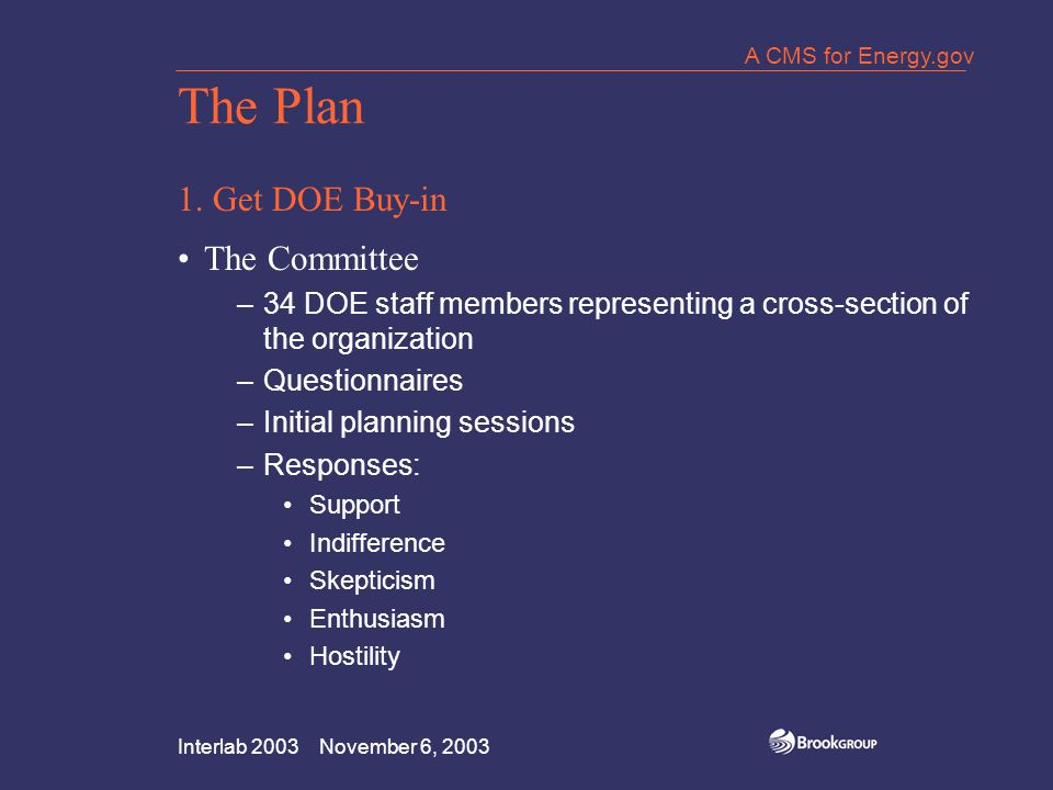 Interlab 2003 November 6, 2003 A CMS for Energy.gov The Plan 1. Get DOE Buy-in The Committee –34 DOE staff members representing a cross-section of the