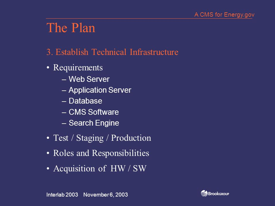 Interlab 2003 November 6, 2003 A CMS for Energy.gov Lessons Learned Clarify Roles and Responsibilities Decision Makers Publishing Staff, Authors, Admins System: Staff, IT, Vendors Figure It Out Up Front Communicate Weekly (at least!) Document Everything