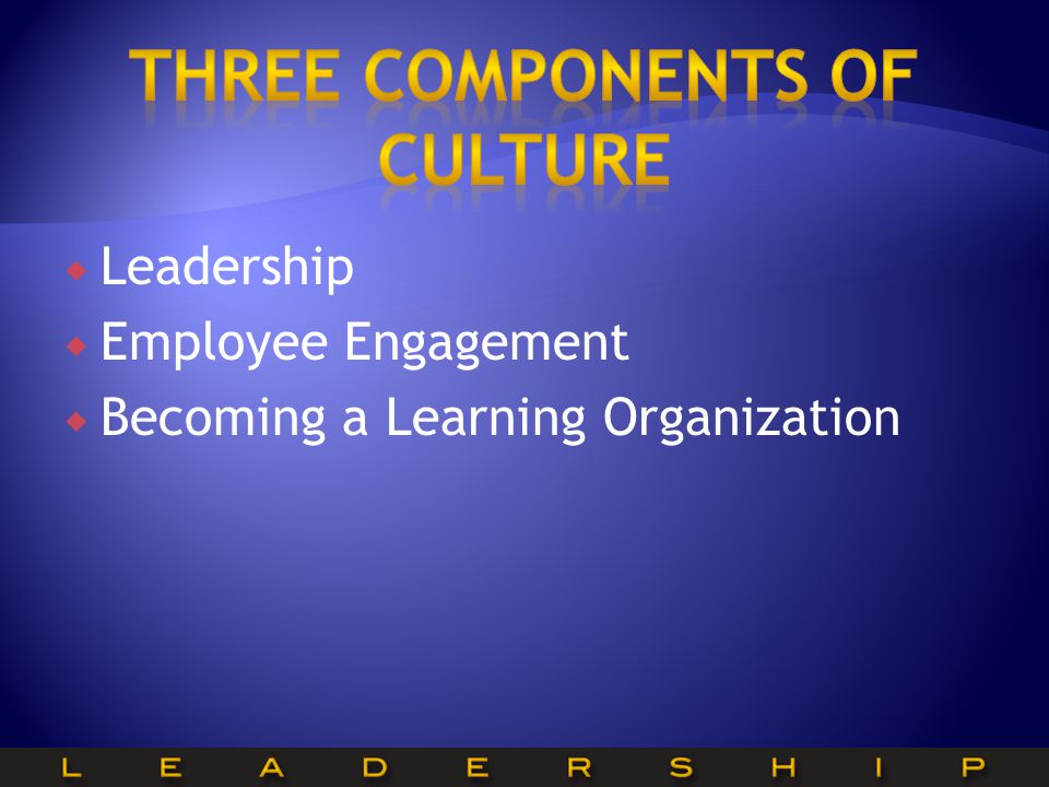  Leadership  Employee Engagement  Becoming a Learning Organization