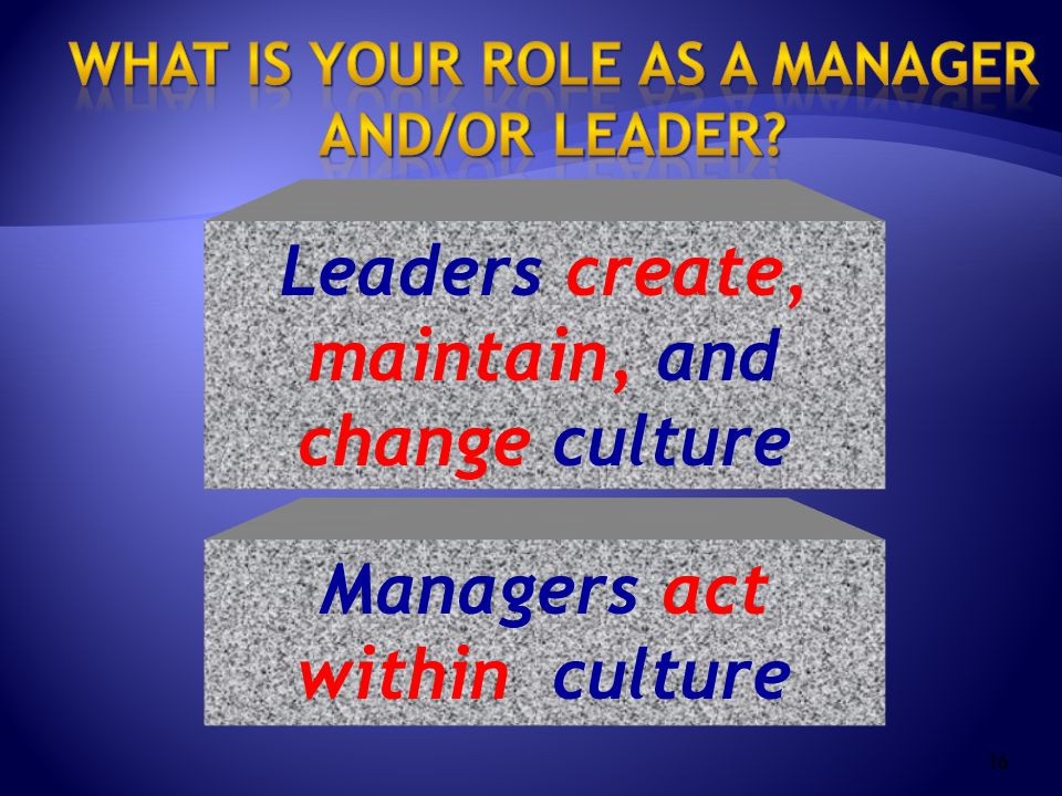 16 Leaders create, maintain, and change culture Managers act within culture