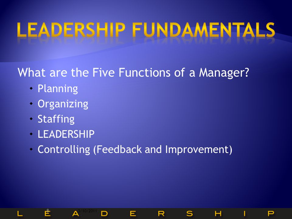 What are the Five Functions of a Manager.