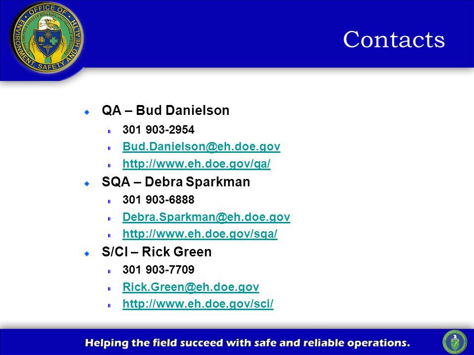 Contacts QA – Bud Danielson 301 903-2954 Bud.Danielson@eh.doe.gov http://www.eh.doe.gov/qa/ SQA – Debra Sparkman 301 903-6888 Debra.Sparkman@eh.doe.gov http://www.eh.doe.gov/sqa/ S/CI – Rick Green 301 903-7709 Rick.Green@eh.doe.gov http://www.eh.doe.gov/sci/