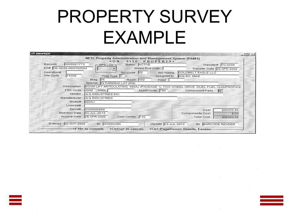 PROPERTY SURVEY EXAMPLE