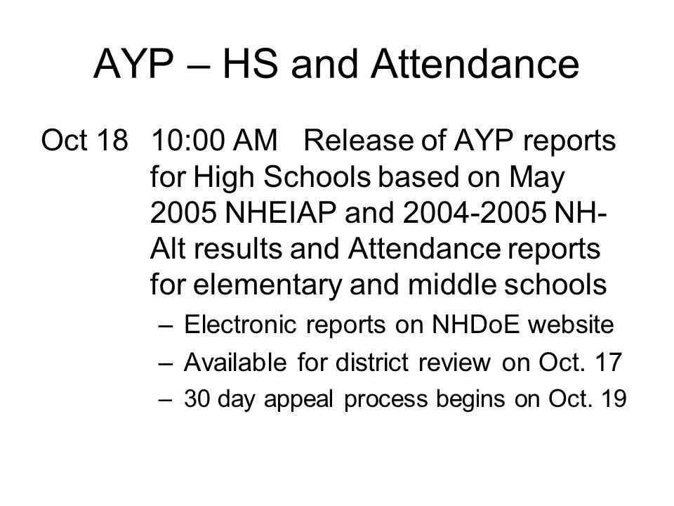 AYP – HS and Attendance Oct 1810:00 AM Release of AYP reports for High Schools based on May 2005 NHEIAP and 2004-2005 NH- Alt results and Attendance r