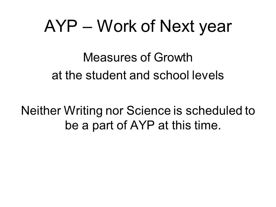 AYP – Work of Next year Measures of Growth at the student and school levels Neither Writing nor Science is scheduled to be a part of AYP at this time.