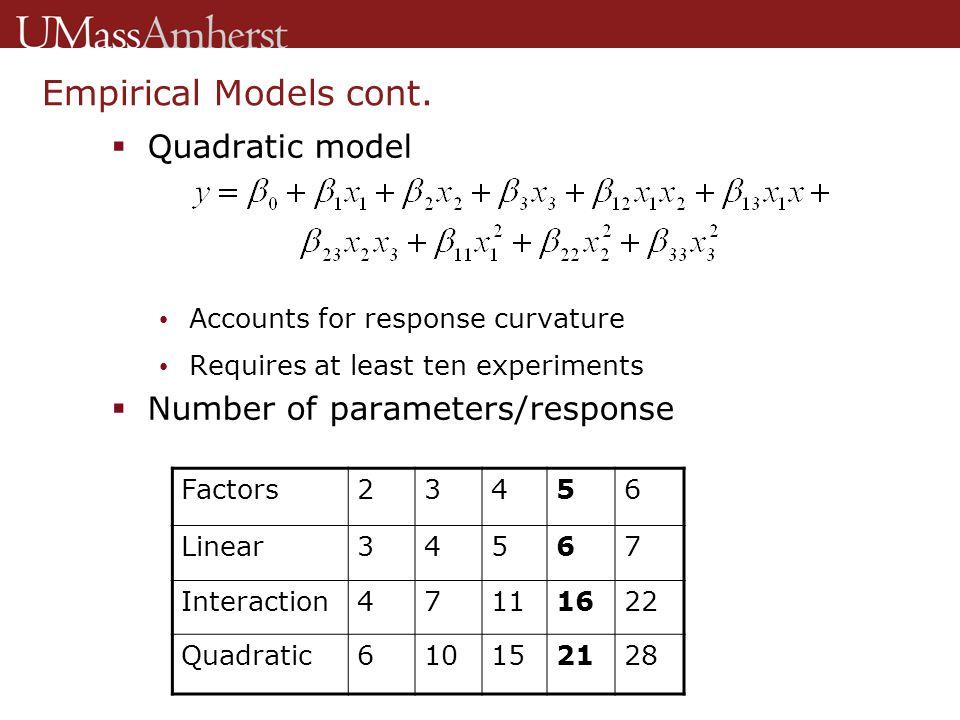 Empirical Models cont.