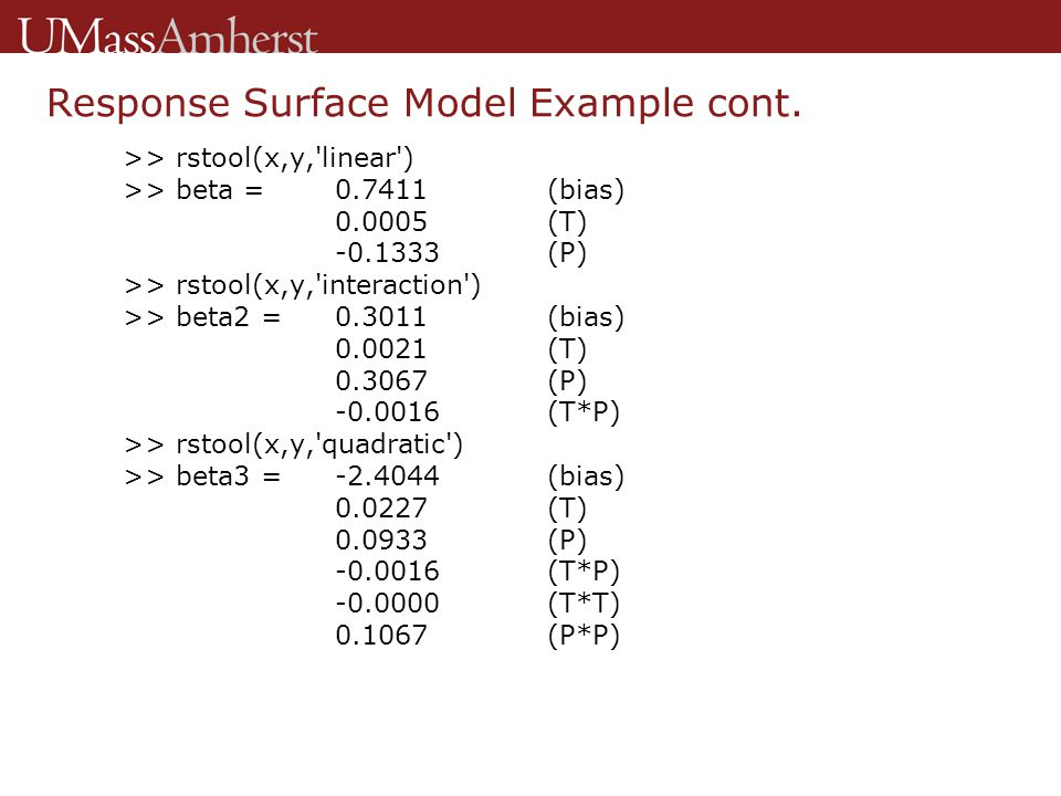Response Surface Model Example cont.