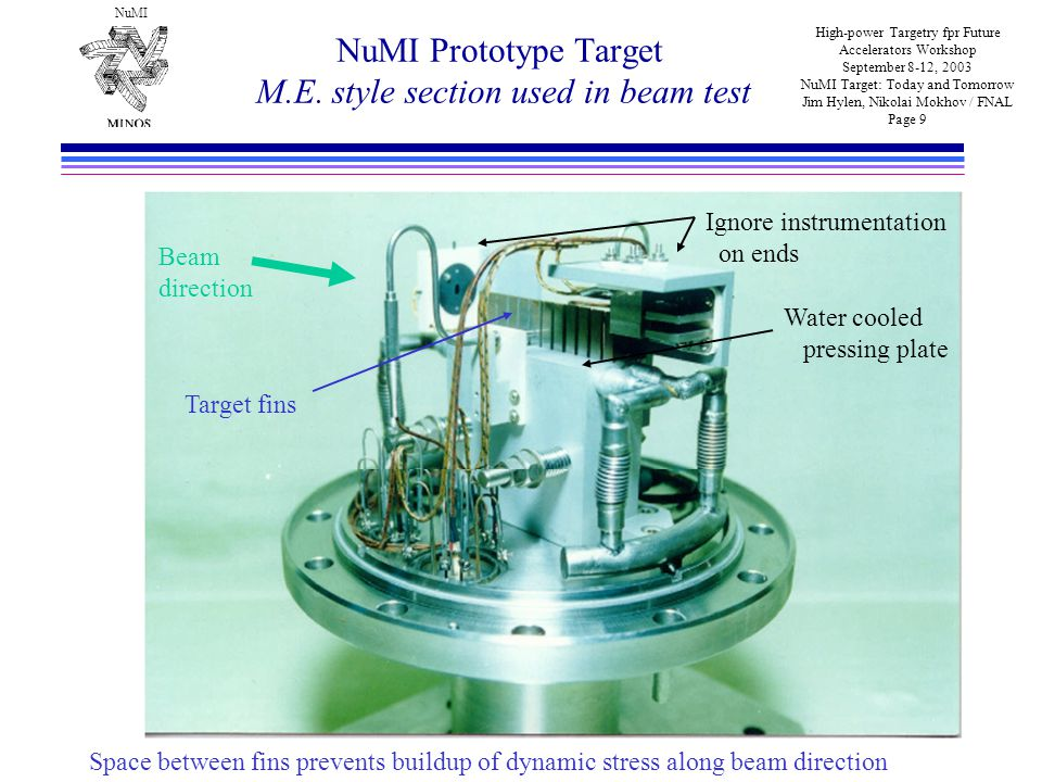NuMI High-power Targetry fpr Future Accelerators Workshop September 8-12, 2003 NuMI Target: Today and Tomorrow Jim Hylen, Nikolai Mokhov / FNAL Page 9 NuMI Prototype Target M.E.