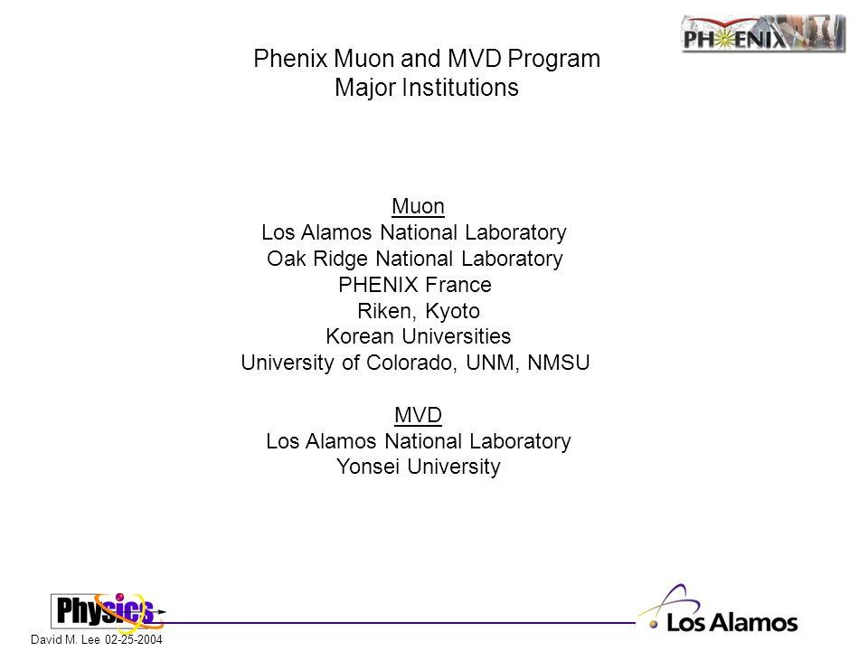 David M. Lee 02-25-2004 Phenix Muon and MVD Program Major Institutions Muon Los Alamos National Laboratory Oak Ridge National Laboratory PHENIX France