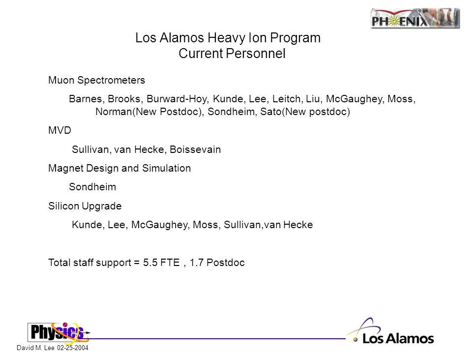 David M. Lee 02-25-2004 Los Alamos Heavy Ion Program Current Personnel Muon Spectrometers Barnes, Brooks, Burward-Hoy, Kunde, Lee, Leitch, Liu, McGaug