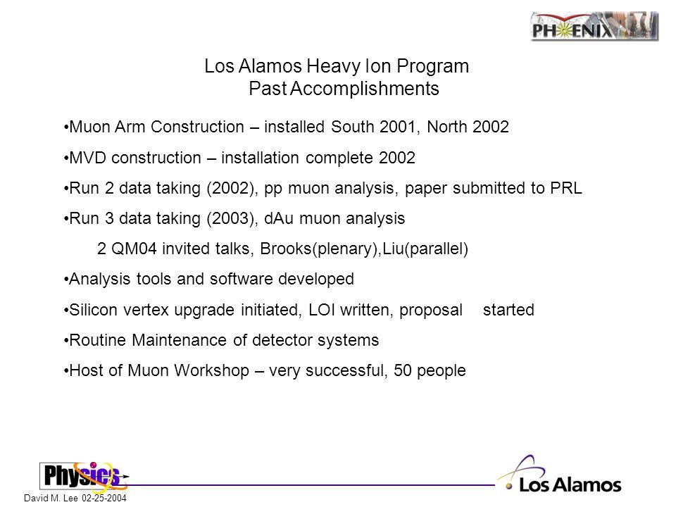 David M. Lee 02-25-2004 Los Alamos Heavy Ion Program Past Accomplishments Muon Arm Construction – installed South 2001, North 2002 MVD construction –