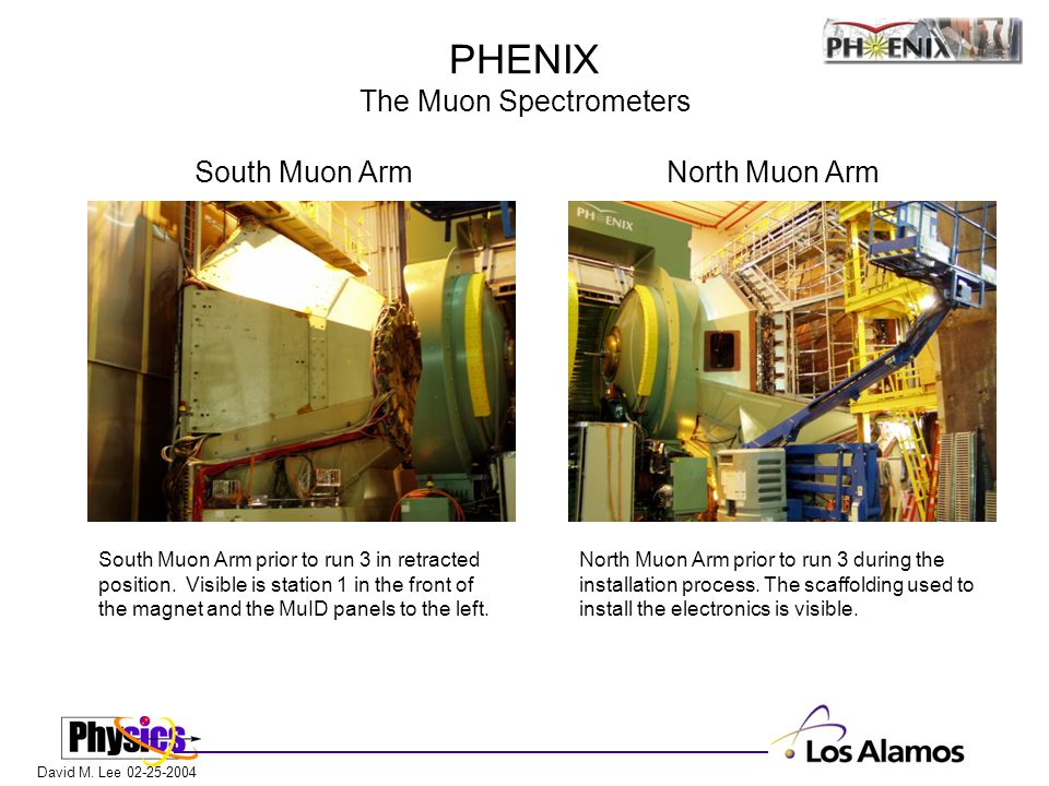 David M. Lee 02-25-2004 PHENIX The Muon Spectrometers South Muon Arm prior to run 3 in retracted position. Visible is station 1 in the front of the ma
