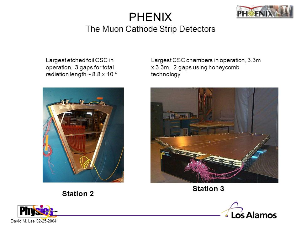 David M. Lee 02-25-2004 PHENIX The Muon Cathode Strip Detectors Station 2 Station 3 Largest CSC chambers in operation, 3.3m x 3.3m. 2 gaps using honey