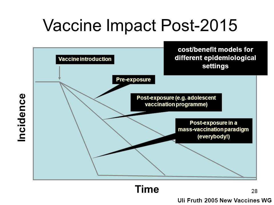 28 Vaccine introduction Pre-exposure Post-exposure in a mass-vaccination paradigm (everybody!) Post-exposure (e.g. adolescent vaccination programme) T