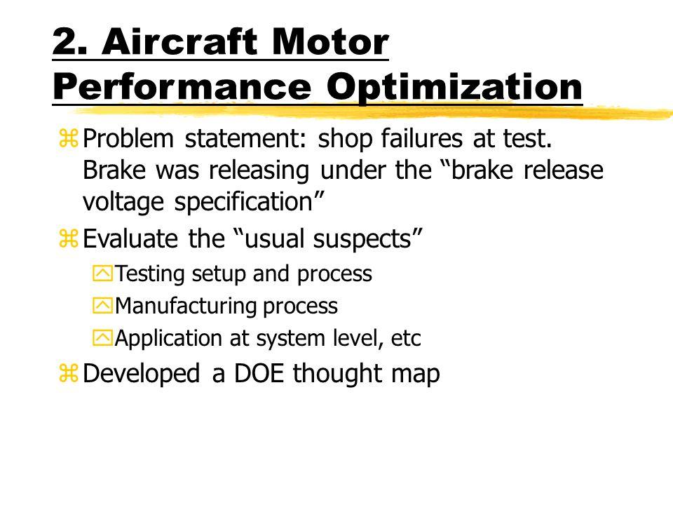 2. Aircraft Motor Performance Optimization zProblem statement: shop failures at test.