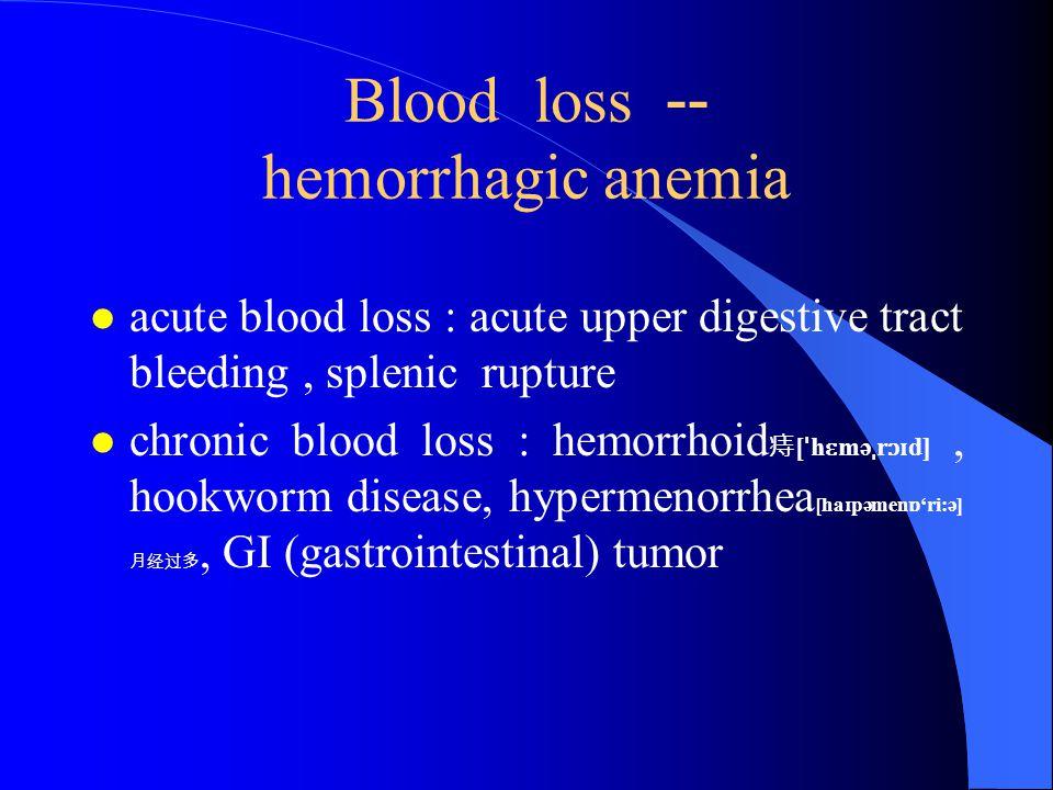 Blood loss -- hemorrhagic anemia l acute blood loss : acute upper digestive tract bleeding, splenic rupture l chronic blood loss : hemorrhoid 痔 [ ˈ h ɛ mə ˌ r ɔɪ d], hookworm disease, hypermenorrhea [ha ɪ pəmen ɒ 'ri:ə] 月经过多, GI (gastrointestinal) tumor