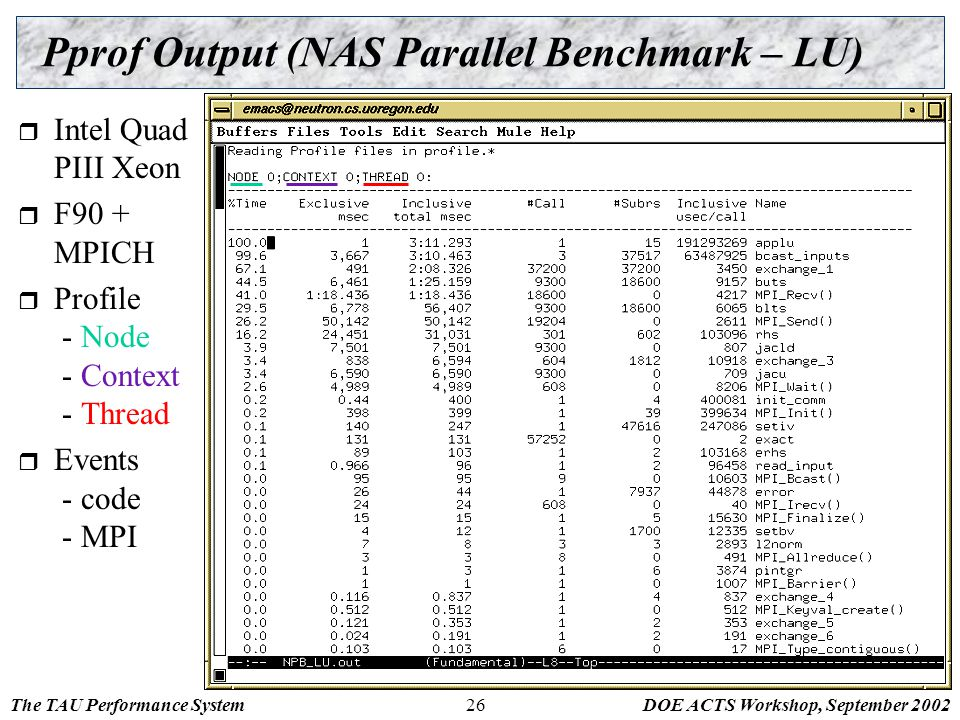 The TAU Performance SystemDOE ACTS Workshop, September 200226 Pprof Output (NAS Parallel Benchmark – LU)  Intel Quad PIII Xeon  F90 + MPICH  Profil