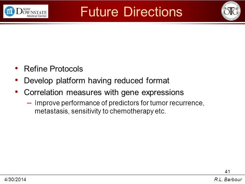 4/30/2014R.L. Barbour 41 Future Directions Refine Protocols Develop platform having reduced format Correlation measures with gene expressions – Improv