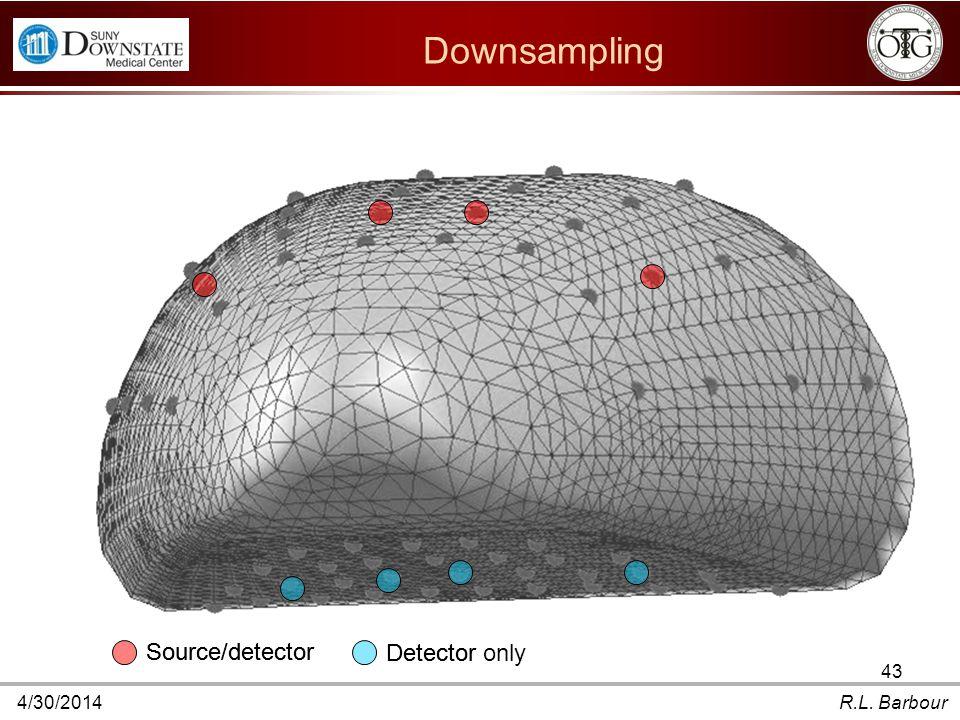 4/30/2014R.L. Barbour Downsampling Source/detector Detector Source/detector Detector only 43