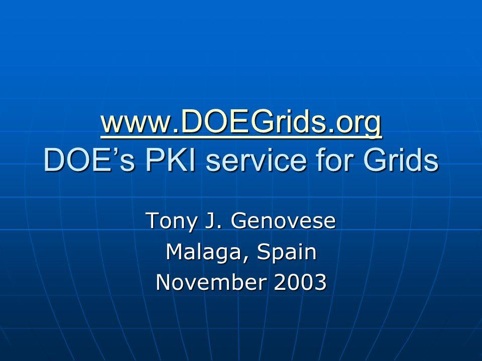 www.DOEGrids.org www.DOEGrids.org DOE's PKI service for Grids www.DOEGrids.org Tony J.