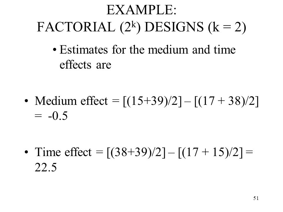 51 EXAMPLE: FACTORIAL (2 k ) DESIGNS (k = 2) Estimates for the medium and time effects are Medium effect = [(15+39)/2] – [(17 + 38)/2] = -0.5 Time eff