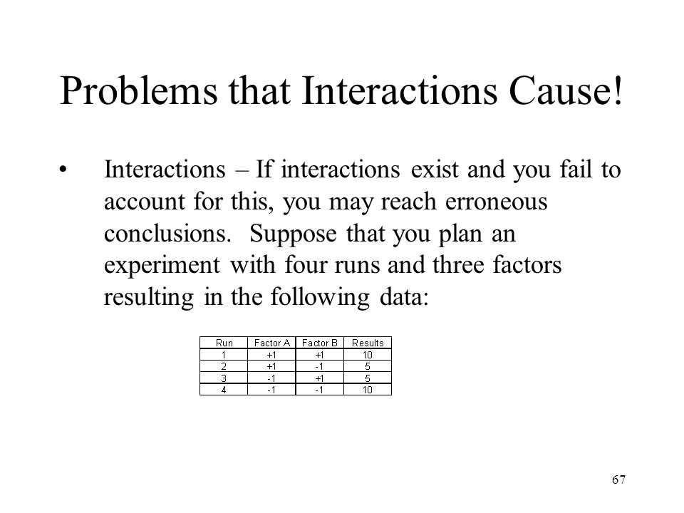 67 Problems that Interactions Cause! Interactions – If interactions exist and you fail to account for this, you may reach erroneous conclusions. Suppo