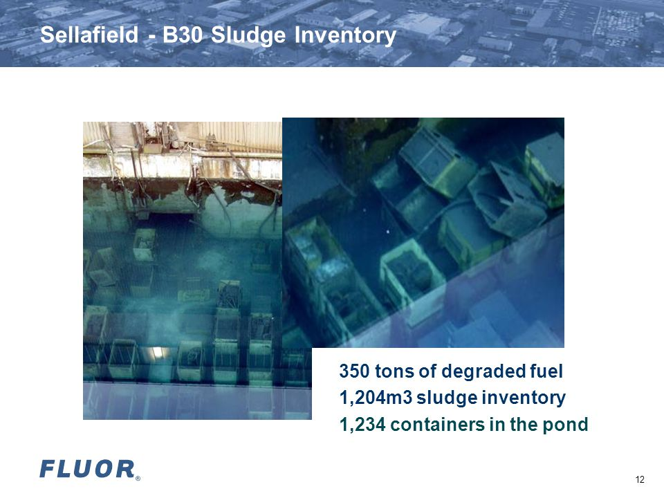 Sellafield - B30 Sludge Inventory 350 tons of degraded fuel 1,204m3 sludge inventory 1,234 containers in the pond 12