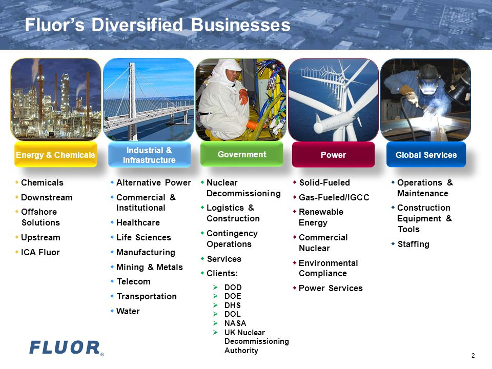 2 Fluor's Diversified Businesses  Chemicals  Downstream  Offshore Solutions  Upstream  ICA Fluor  Operations & Maintenance  Construction Equipment & Tools  Staffing  Nuclear Decommissioning  Logistics & Construction  Contingency Operations  Services  Clients:  DOD  DOE  DHS  DOL  NASA  UK Nuclear Decommissioning Authority  Alternative Power  Commercial & Institutional  Healthcare  Life Sciences  Manufacturing  Mining & Metals  Telecom  Transportation  Water  Solid-Fueled  Gas-Fueled/IGCC  Renewable Energy  Commercial Nuclear  Environmental Compliance  Power Services Energy & Chemicals Industrial & Infrastructure Government Global Services Power