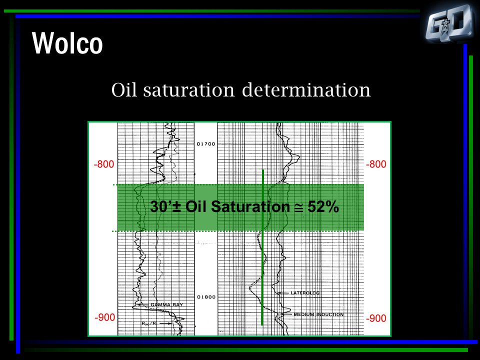 Wolco Oil saturation determination 30'± Oil Saturation  52%