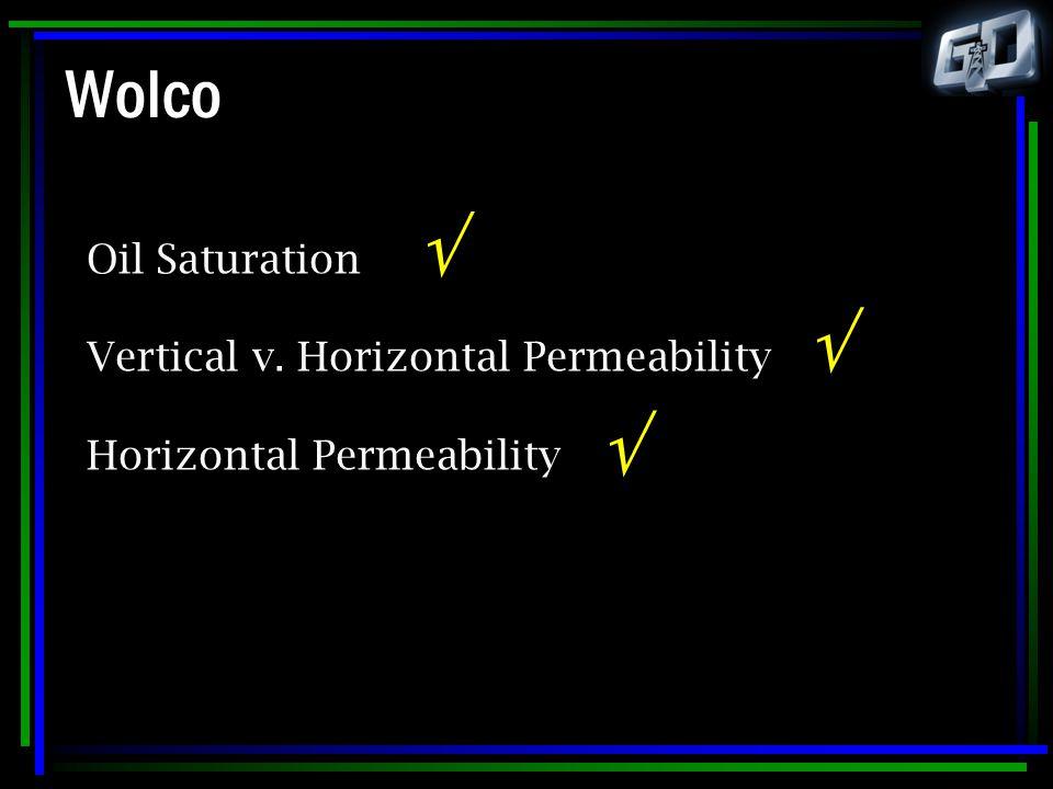 Oil Saturation Vertical v. Horizontal Permeability Horizontal Permeability   