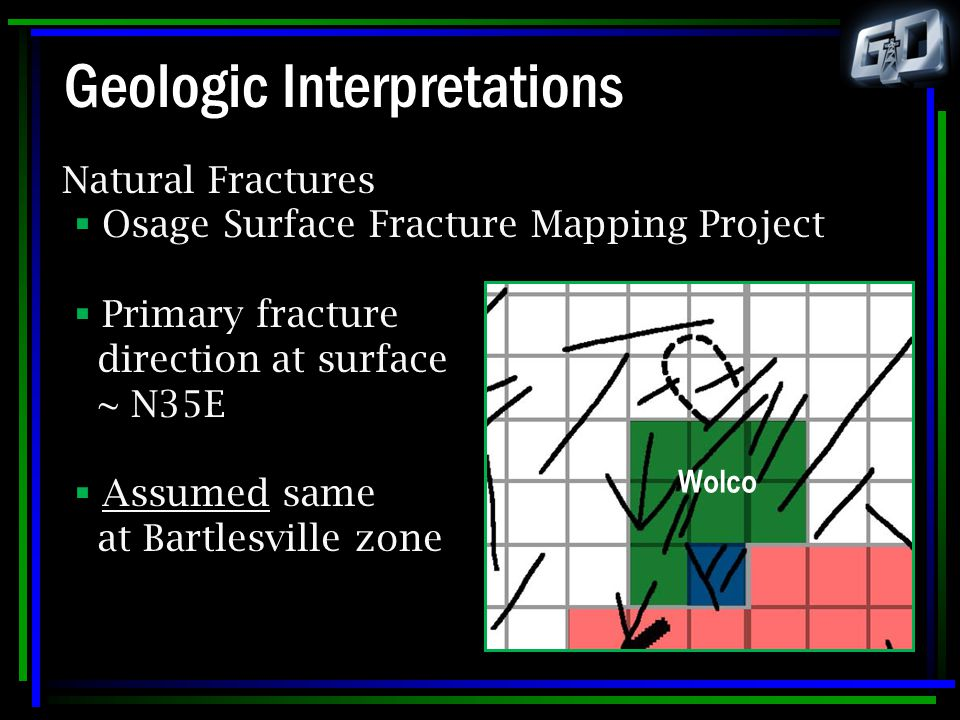 Geologic Interpretations Natural Fractures  Osage Surface Fracture Mapping Project  Primary fracture direction at surface ~ N35E  Assumed same at B