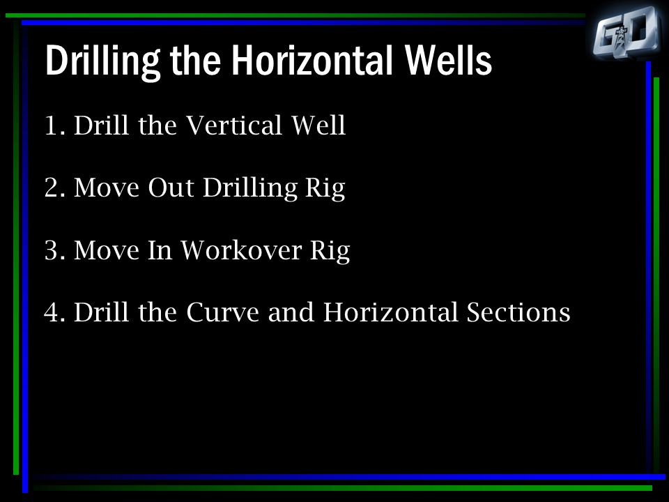Drilling the Horizontal Wells 1. Drill the Vertical Well 2. Move Out Drilling Rig 3. Move In Workover Rig 4. Drill the Curve and Horizontal Sections