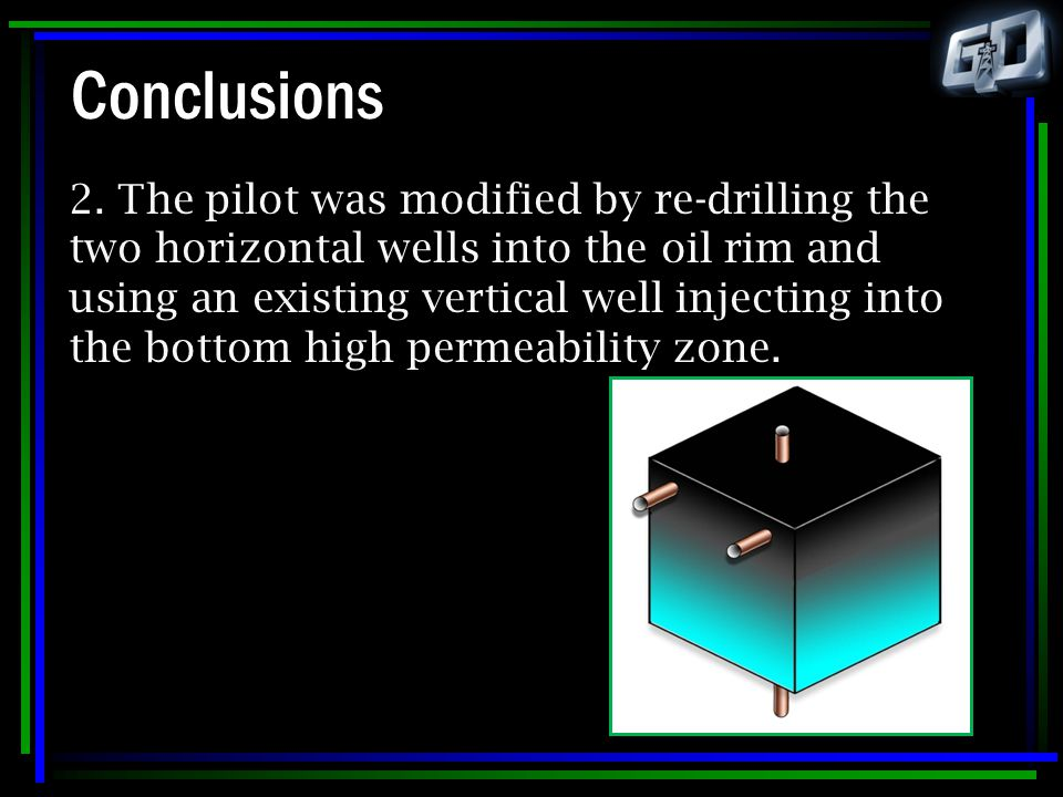 Conclusions 2. The pilot was modified by re-drilling the two horizontal wells into the oil rim and using an existing vertical well injecting into the