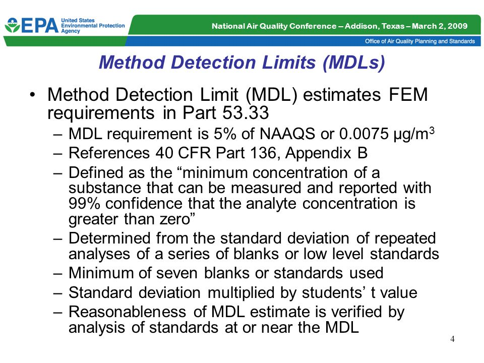 National Air Quality Conference -- Addison, Texas – March 2, 2009 5 Estimated MDLs for Pb in TSP and PM 10 Methods MDL requirement is 5% of NAAQS or 0.0075 µg/m 3 Estimated MDL (µg/m 3 ) Sample Analysis Methods 0.002 to 0.00005 a c Graphite Furnace Atomic Absorption (GFAA) 0.0007 b Energy-dispersive X-Ray Fluorescence (EDXRF) 0.00006 c Inductively Coupled Plasma Mass Spectrometry (ICP-MS) 0.0003 c Inductively Coupled Plasma Atomic Emission Spectrometry (ICP-AES/OES) a Estimated MDL retrieved from AQS b 40 CFR Part 50, Appendix Q c Estimated MDLs reported in the Inorganic (IO) Compendium of Methods for the Determination of Inorganic Compounds in Ambient Air, EPA/625/R-96/01a, July 1999