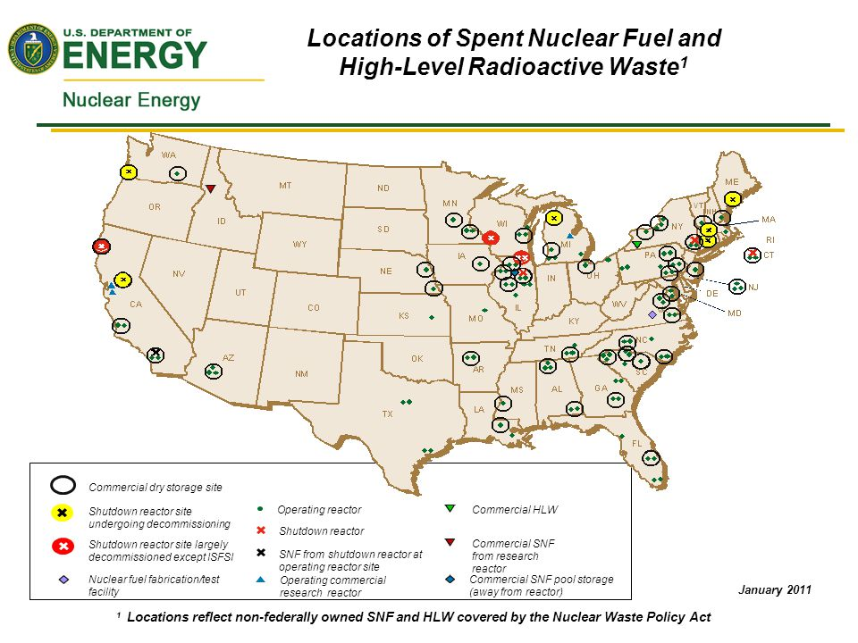 Storage of Used Nuclear Fuel Currently 54 dry cask storage NRC-licensed Independent Spent Fuel Storage Installations (ISFSIs) in 33 states There are 14 shutdown reactors at 13 sites in 9 states with used fuel in wet or dry storage Interim storage of UNF is safe and licensable Existing facilities can be licensed to store low- burnup light water reactor (LWR) fuel (<45 GWD/MTU) up to 60 years Additional regulatory and technical basis needed for interim storage of low-burnup fuels past 60 years and for interim storage of high-burnup fuels 16